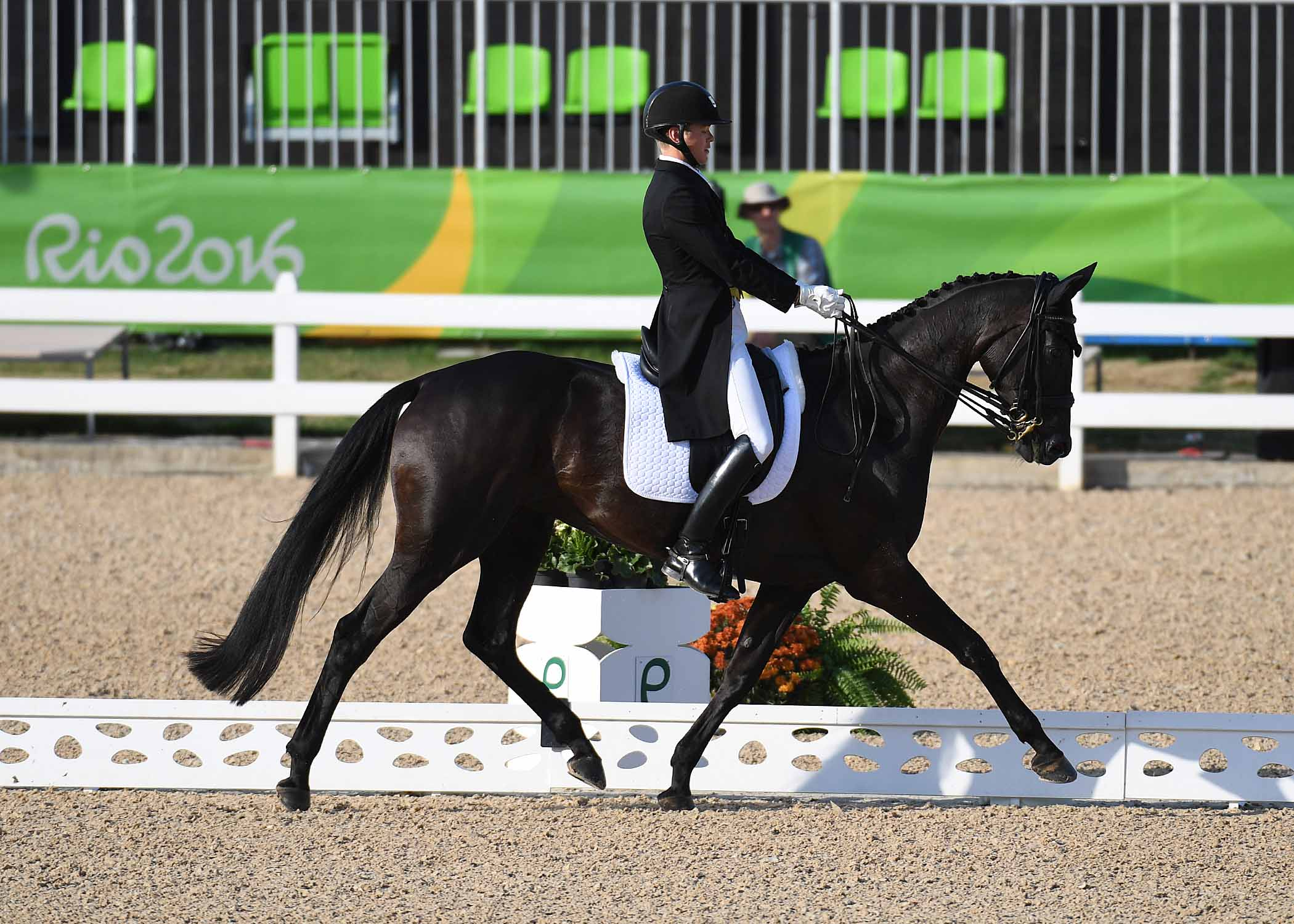 Elmo Jankari FIN riding Duchess Desiree, during the dressage phase of the Eventing Competition of the Rio 2016 Olympic Games at the Olympic Equestrian Eyestrain Centre in Deodoro near Rio, Brazil on 6th August 2016